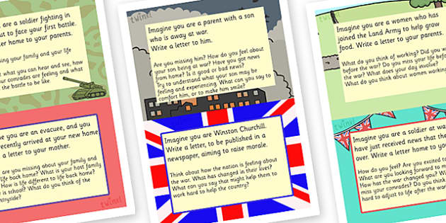 Word War Two Letter Writing Challenge Cards - world war 2, world war two, ww2, world war two letters, world war two writing challenges, ww2 writing