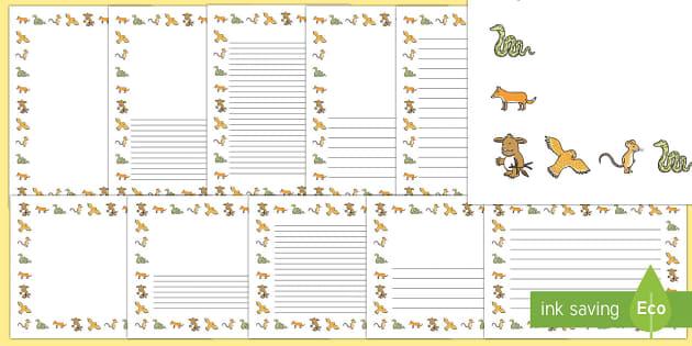 Page Border Pack - The Gruffalo's Child, Julia Donaldson, winter, snow,
