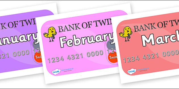Months of the Year on Debit Cards - Months of the Year, Months poster, Months display, display, poster, frieze, Months, month, January, February, March, April, May, June, July, August, September