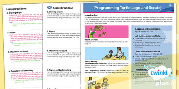 PlanIt - Computing Year 2 - Programming Turtle Logo and Scratch Planning Overview CfE - planit, planning, overview, cfe