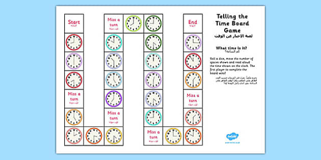 Telling the Time Board Game KS1 O'clock and Half Past Arabic Translation - arabic, telling the time, board game, ks1, o'clock, half past