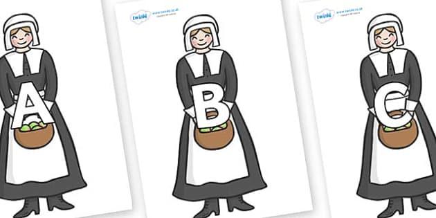 A-Z Alphabet on Pilgrim - A-Z, A4, display, Alphabet frieze, Display letters, Letter posters, A-Z letters, Alphabet flashcards
