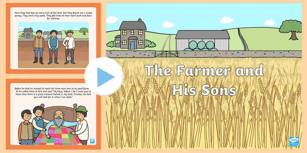 The Farmer and His Sons PowerPoint - aesops fables, stories