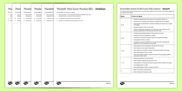 Macbeth Mini Exam Pack