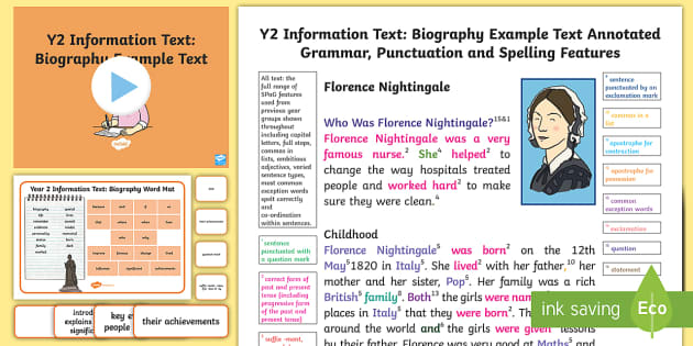 Y2 Information Texts: Biography Model/Example Text - Example Texts Y2, Information Texts, biography, exemplification, WAGOLL, exemplification, moderating, ARE, age-related example, model, model text, age-related model
