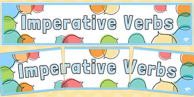 Imperative Verbs Display Banner - imperative verbs, display banner