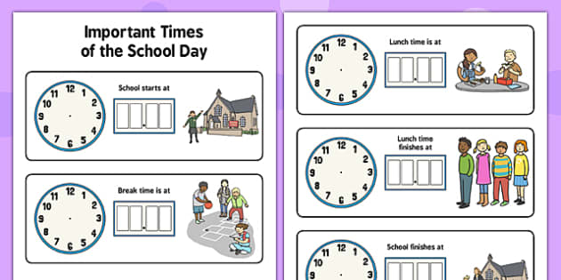 Important Times of the School Day - important, times, school day
