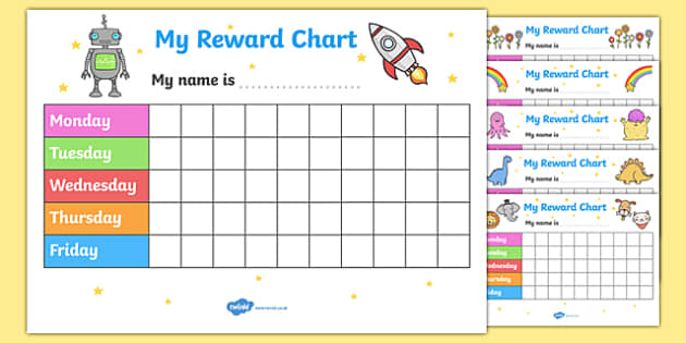 My Reward Chart Reward Chart Pack free reward chart my – Free Reward Chart Templates
