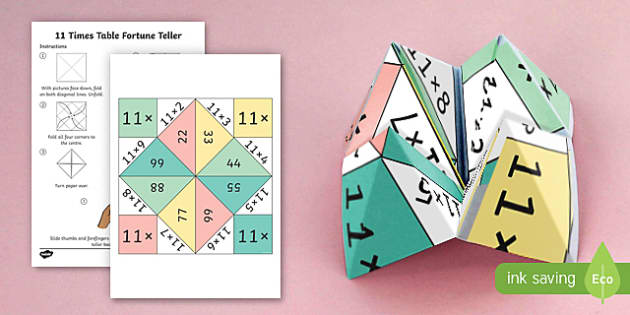11 Times Table Fortune Teller - 11 times table, times table, times tables, fortune teller, activity, craft, fold