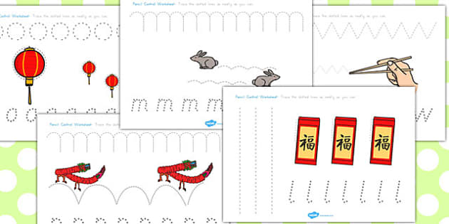 Chinese New Year Pencil Control Worksheets - australia, control