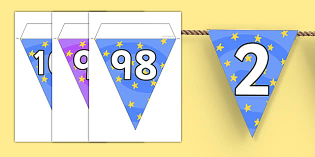 Numbers 0-100 on Magic Maths Area Display Bunting - numeracy