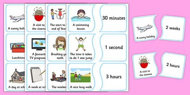 Time Sorting Card Game - time, length, how long, seconds, minutes, hours, days, weeks, months, years