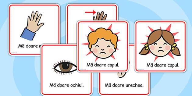 Partile Corpului - cartonase, imagini, cuvinte, clasele primare, Romanian