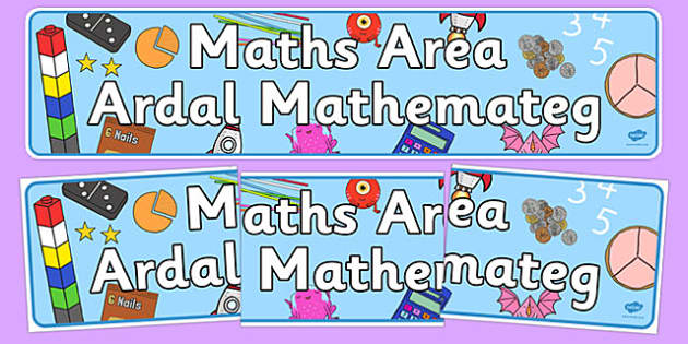 Maths Area Sign Welsh Translation - welsh, cymraeg, Foundation Phase, Maths Area, Nursery Reception