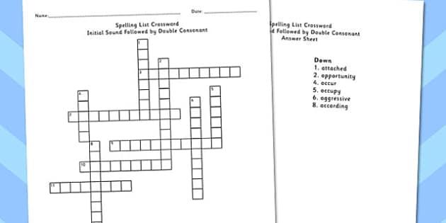 Year 5-6 Spelling Crossword Initial Sound Follow Double Consonant