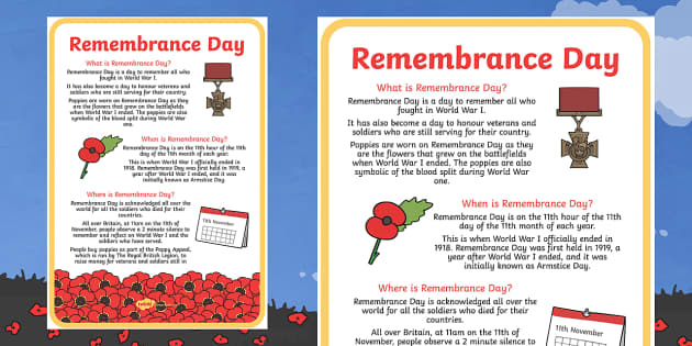 Remembrance Day Where When What Poster - remembrance day, poster