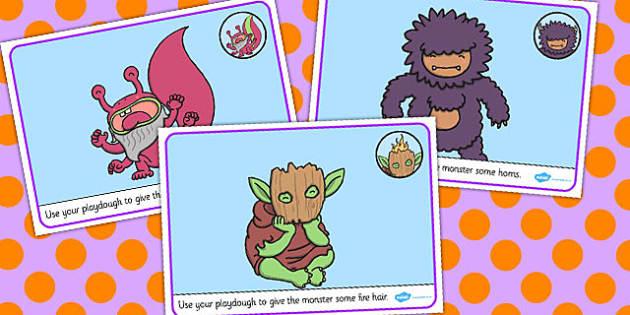 Monster Playdough Mats - monster, playdough, mats, fantasy