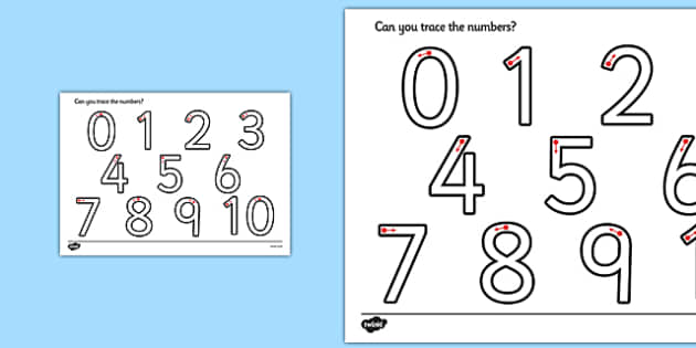 Taflen waith-ffurfio rhifau - Number formation, tracing numbers, tracing sheet, 0-9 tracing, 0-9, number writing practice, foundation stage numeracy, writing, learning to write