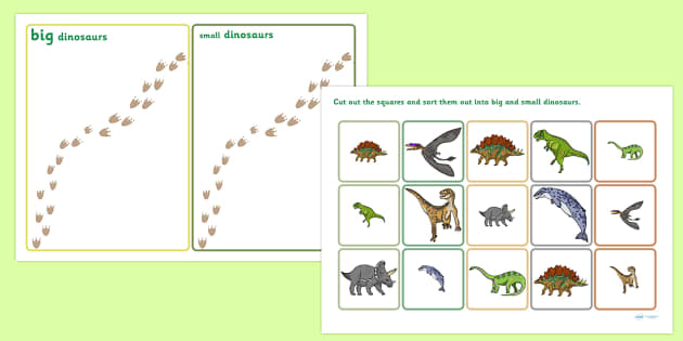Realistic Dinosaurs Size Sorting Activity - dinosaur, size, order