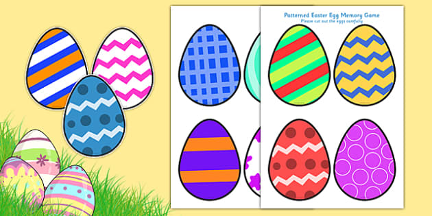 Patterned Easter Egg Memory game - games, activity, activities