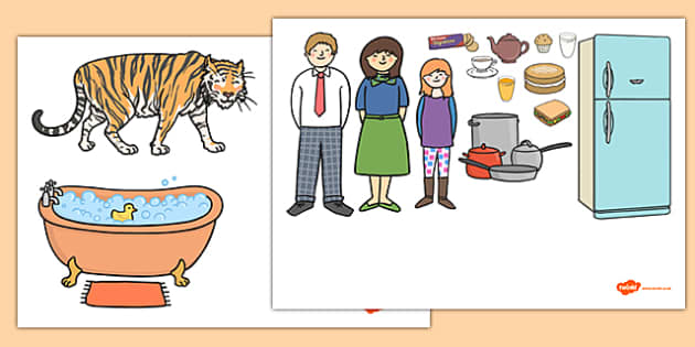 The Tiger Who Came to Tea Story Cut Outs - tiger, tea, the tiger who came to tea, cut outs, cutting cutting out, book resources, play, Judith Kerr, girl, story book