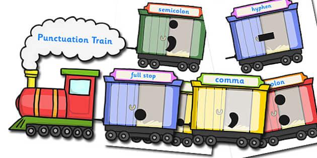 Punctuation Train Display - punctuation, punctuation display, classroom display, themed display, visual aid, punctuation aid, train display, display