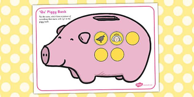 Qu Phonics Piggy Bank Activity - qu, phonics, piggy bank, activity