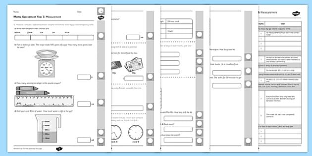 Year 3 Maths Assessment: Measurement Term 1 - assessment, maths, measure
