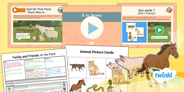 PlanIt - Year 5 French - Family and Friends Lesson 2: At the Farm Lesson Pack - french, languages, grammar, animals, farm, Old Macdonald,French, les animaux, animals, farmyard, fre