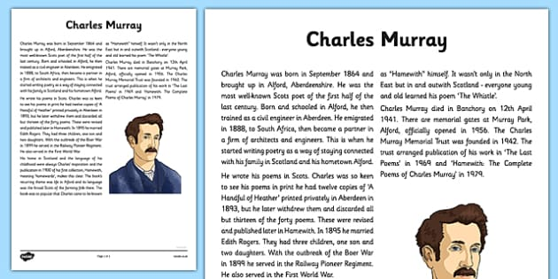 Charles Murray The Whistle Poem Information Sheet - cfe, charles murray, information, sheet, the whistle, poem, poetry, scots