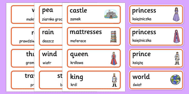 The Princess and the Pea Word Cards Polish Translation - polish, princess, pea, word cards, word, cards