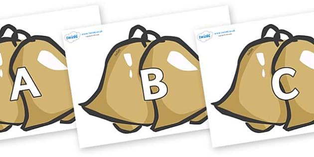 A-Z Alphabet on Bells - A-Z, A4, display, Alphabet frieze, Display letters, Letter posters, A-Z letters, Alphabet flashcards