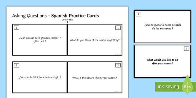 General Conversation Education Post 16 Question Double Sided Cards Spanish English