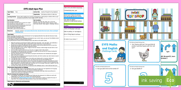 EYFS Journey Through the Toy Cupboard Adult Input Plan and Resource Pack - Toys, ict, it, utw, bee-bot, technology, challenge questions, directions, forwards, left, right.
