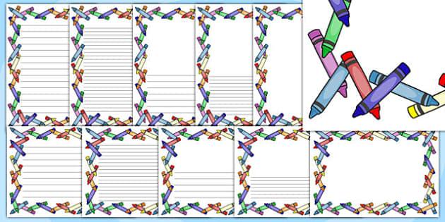 Crayon Page Borders - crayon, page borders, page, borders, colour