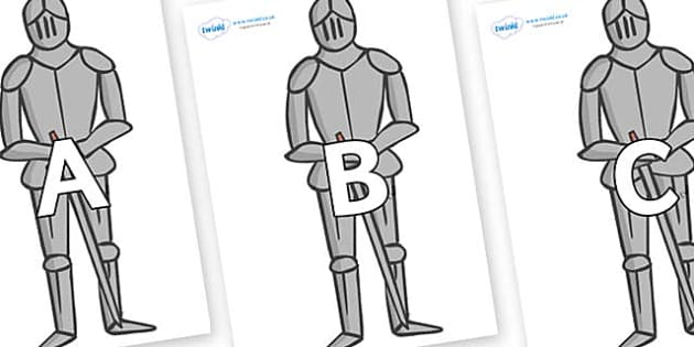 A-Z Alphabet on Suits of Armour - A-Z, A4, display, Alphabet frieze, Display letters, Letter posters, A-Z letters, Alphabet flashcards