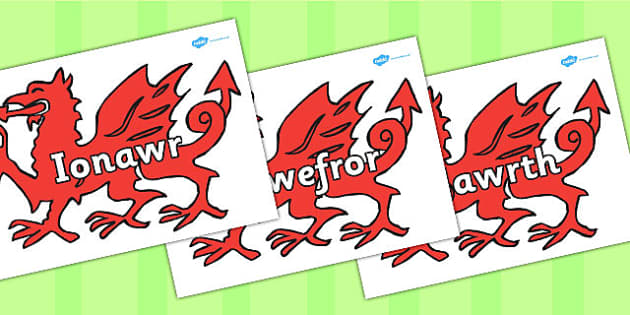 Welsh Months Of The Year On Welsh Dragons - visual, display