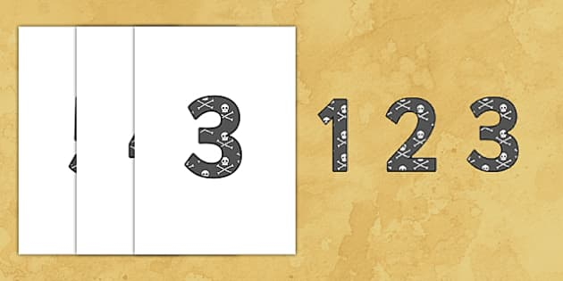 0-9 Display Numbers (Pirates) - Display numbers, 0-9, numbers, display numerals, pirates, pirate, jolly roger, display lettering, display numbers, display, cut out lettering, lettering for display, display numbers
