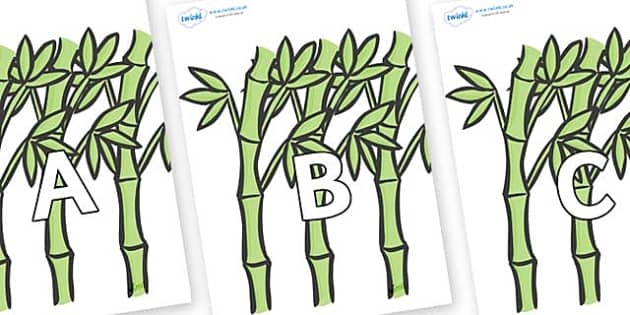 A-Z Alphabet on Bamboo - A-Z, A4, display, Alphabet frieze, Display letters, Letter posters, A-Z letters, Alphabet flashcards