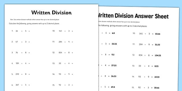 Year 6 Written Division 2 Decimal Places Activity Sheet - year