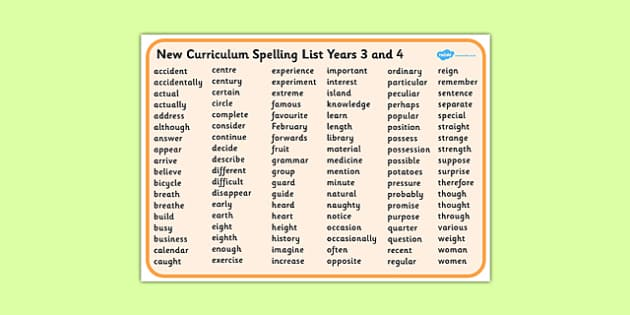 New Curriculum Spelling List Years 3 and 4 Word Bank - new curriculum, spelling list, year 3, year 4, word mat