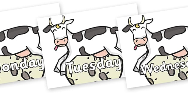 Days of the Week on Cow and Moon - Days of the Week, Weeks poster, week, display, poster, frieze, Days, Day, Monday, Tuesday, Wednesday, Thursday, Friday, Saturday, Sunday