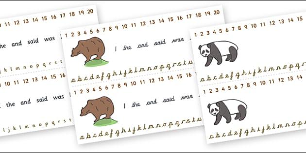 Combined Alphabet and Number Strips (Bears) - Bear, Alphabet, Numbers, Writing aid, animals, polar bear, koala bear, brown bear, grizzly bear, sloth bear,  bear resources