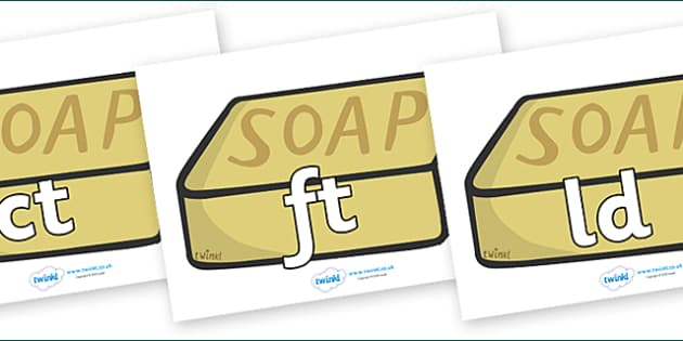 Final Letter Blends on Soap - Final Letters, final letter, letter blend, letter blends, consonant, consonants, digraph, trigraph, literacy, alphabet, letters, foundation stage literacy