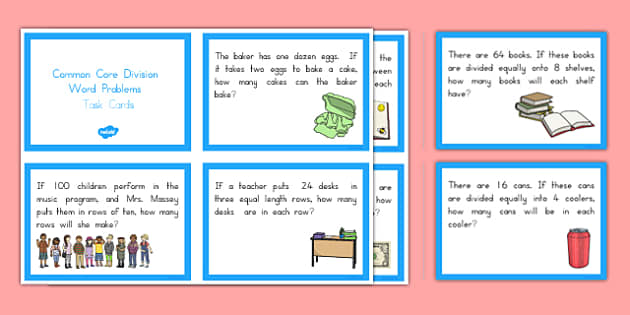 Common Core Division Word Problems Task Cards - US Resources, Common Core, Task Cards, Division, Word Problems, Operations and Algebraic Thinking, OA, 3rd, 4th, 5th