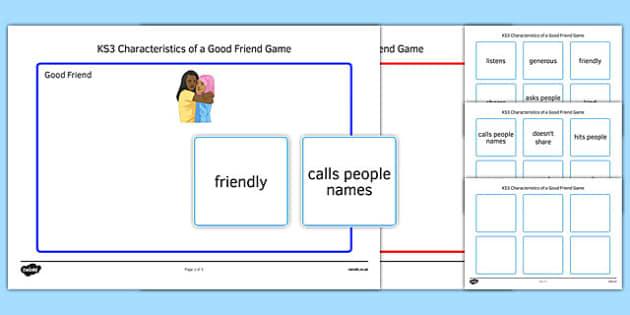 KS3 Characteristics of a Good Friend Game - ks3, characteristics, good friend, game
