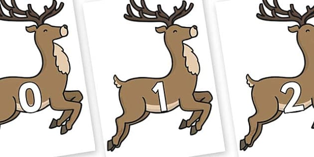 Numbers 0-31 on Reindeer - 0-31, foundation stage numeracy, Number recognition, Number flashcards, counting, number frieze, Display numbers, number posters