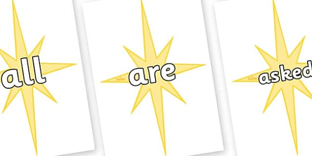 Tricky Words on Christmas Stars - Tricky words, DfES Letters and Sounds, Letters and sounds, display, words