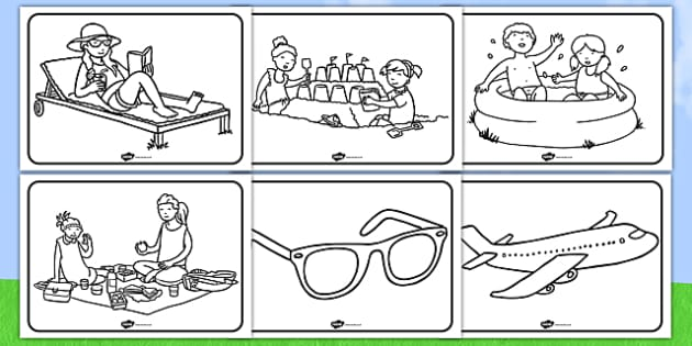 Summer Colouring Sheets - education, home school, free, fun, kids