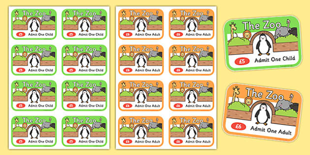 Zoo Role Play Tickets - Zoo Role Play, zoo, at the zoo, tickets, zoo resources, zoo animals, animals, zoo ticket, the zoo, living things, role play, display, poster